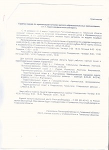 Горячая линия Роспотребнадзора по Тюменской области по организации питания детей в ОО.